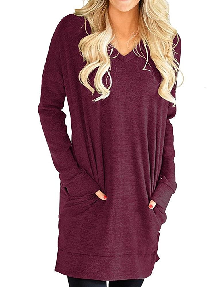 Nlife Women Casual V-Neck Solid Color Long Sleeves Sweatshirt Tunics Blouse Tops with Pockets
