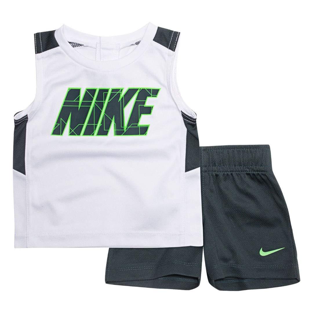 Nike Boy`s Dri-Fit T-Shirt & Shorts 2 Piece Set (White(66D248-001)/Lime, 12 Months)
