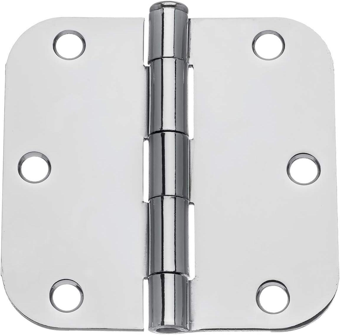 """Dynasty Hardware 3-1/2"""" Door Hinges 5/8"""" Radius Corner, Polished Chrome (24 Pack)"""