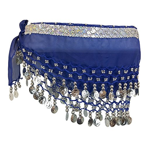Long Sash Style Scarf (Kid Size Sequins Belly Dance Hip Scarf Wrap Belt Tribal Sash Skirt SILVER Coins (Royal Blue))