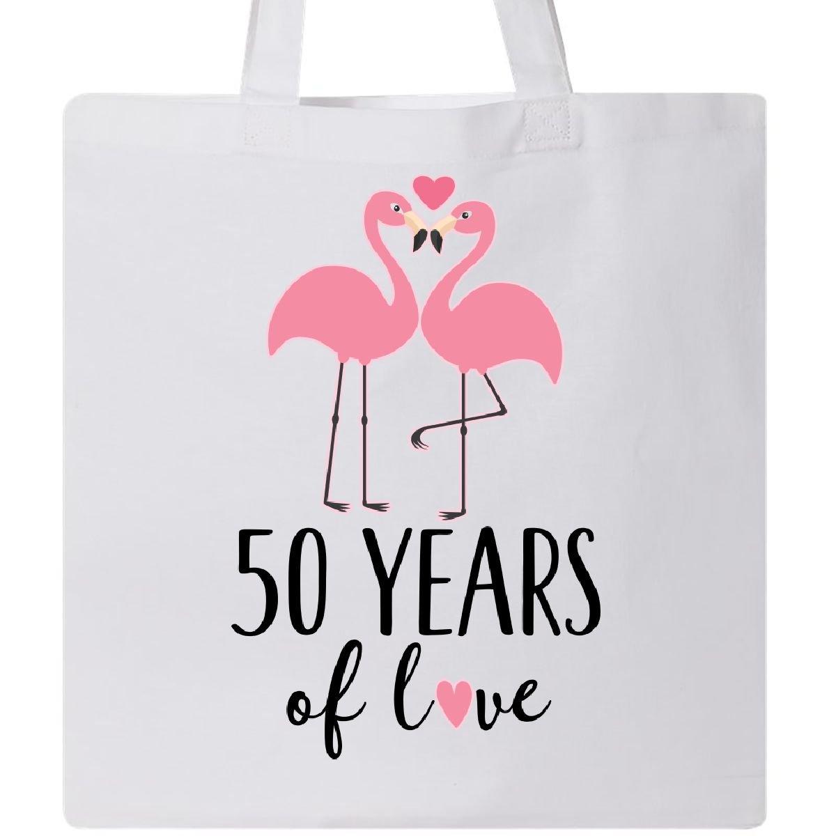 Inktastic 50th Anniversary Gift Flamingo Couple Tote Bag White