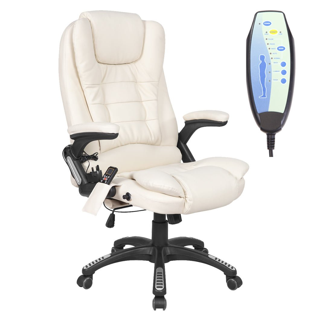 RIO CREAM RECLINING MASSAGE LEATHER OFFICE CHAIR w 6 POINT MASSAGE ...