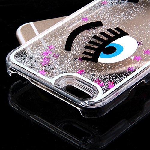 ISAKEN Custodia iphone 6, iphone 6S Flowing Cover, Creative Design Fluente della Glitter Copertura di Caso di Bling Chiaro Lucido Sparkle Stelle Plastica della Case Cover con Eye Pattern per iPhone 6