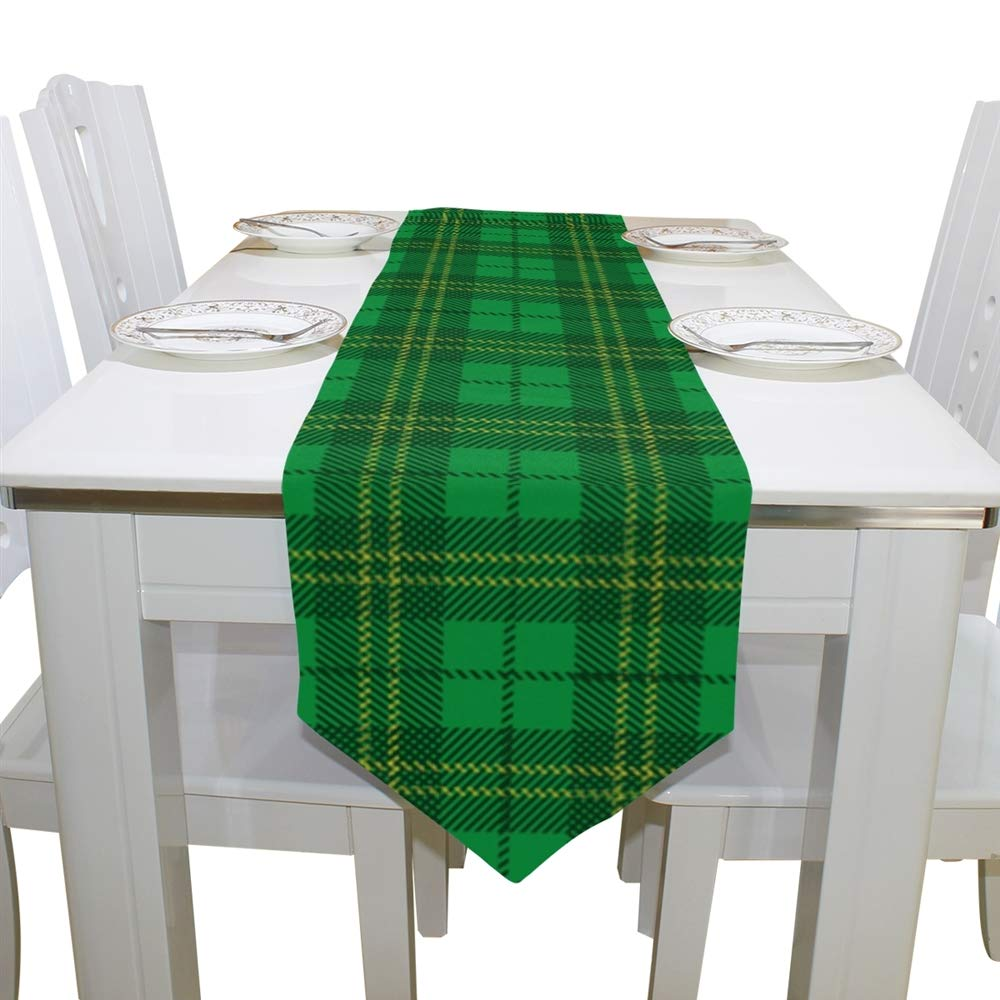 ALAZA St Patrick Day Shamrocks Plaid Pattern Table Runner for Wedding Party Banquet Coffee Table Cloth Home Kitchen Decoration,13 x 70 inches