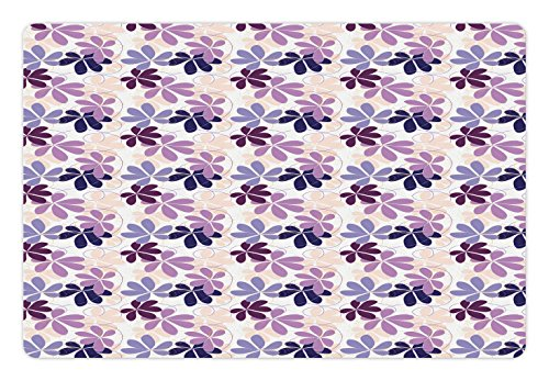 Ambesonne Floral Pet Mat for Food and Water, Retro Blooming Petals with Abstract Swirls and Curves Romantic Composition, Rectangle Non-Slip Rubber Mat for Dogs and Cats, Purple Lilac - Petals Swirl