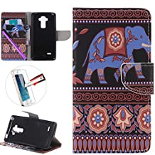 LG G4 Stylus LS 770 Case, ISADENSER Premium Mobile Cover Protect Skin Leather Cases Covers With Card Slot Holder Wallet Book Design For LG G Stylo LS770, Elephant
