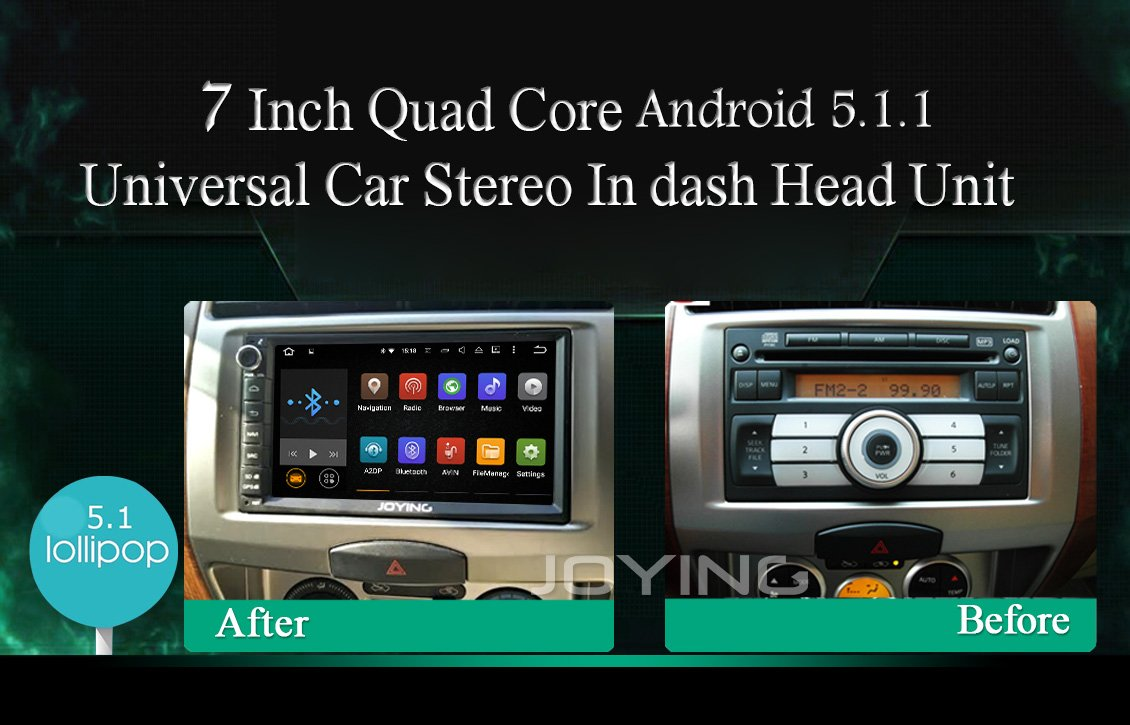 Amazon com joying 7 android 5 1 lollipop quad core 1024600 capacitive touch screen double 2 din car radio bluetooth wifi 1080p aftermarket auto gps