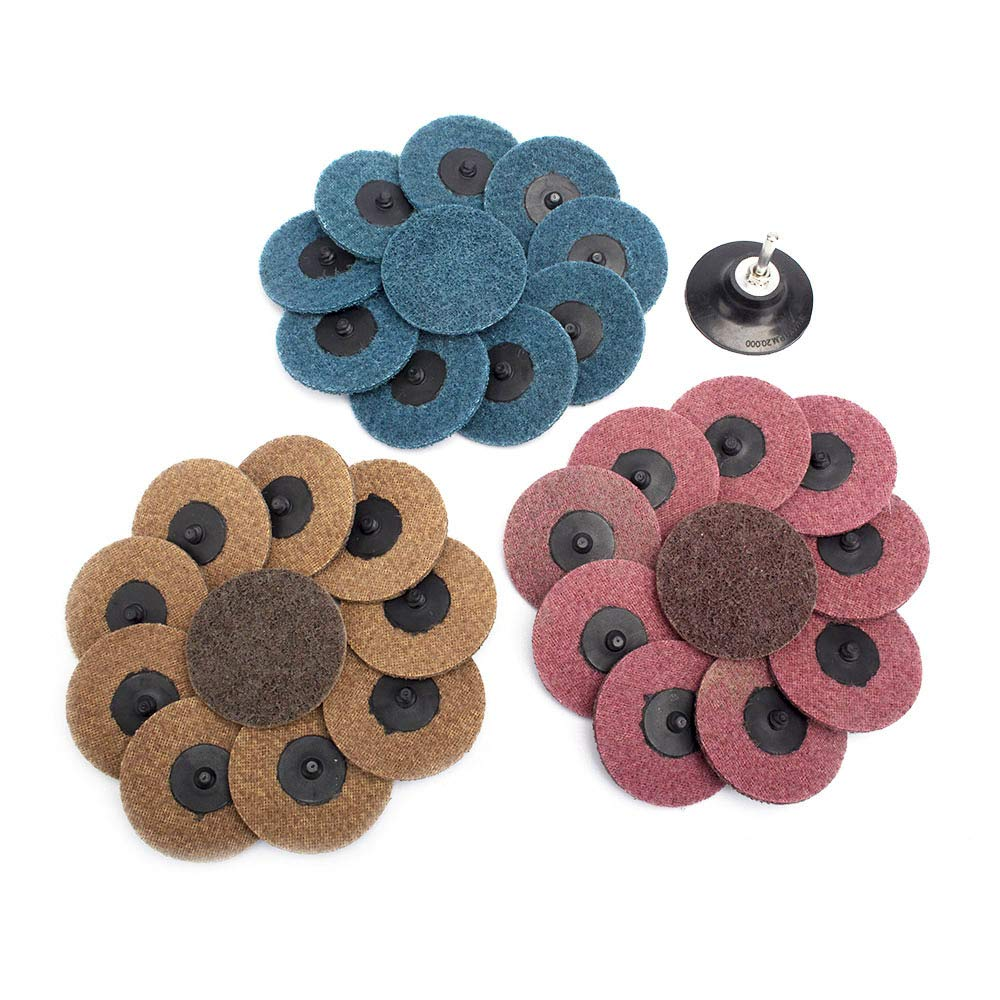 31Pcs 3'' Roloc Surface Conditioning Buffing Dics Quick Change Prep Polishing Pad Set with 1Pc 1/4'' Holder (3 inch Set)