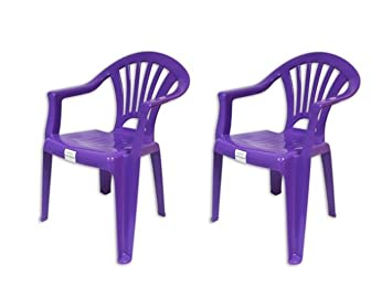 U0026quot;Brightsu0026quot; 2 X Purple Plastic Stackable Chairs For Kids For Indoor  Or Outdoor