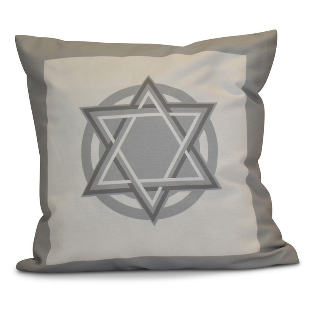 E by design O5PGHN565GY1-16 16 x 16 Decorative Geometric Holiday Black Outdoor Pillow