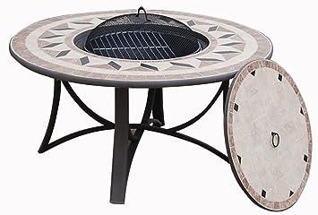 Table de jardin basse ronde HAWAI aspect fer forgé et ...
