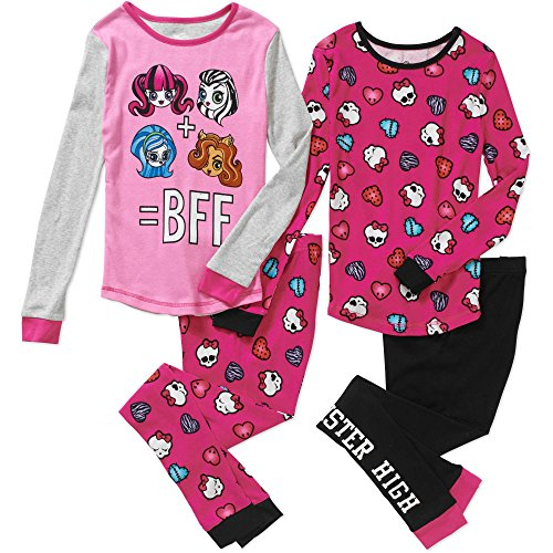 (Girls' Monster High 4pc cotton sleepwear set)