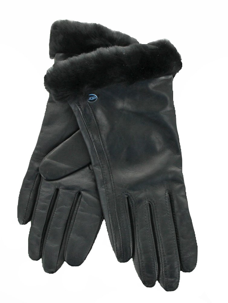 UGG Womens Classic Leather Smart Glove, Black, Medium