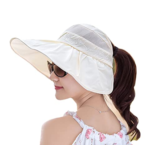ECHERY Damas de ala Ancha Visera de Las Gorras de Packable Protección UV del Sol de