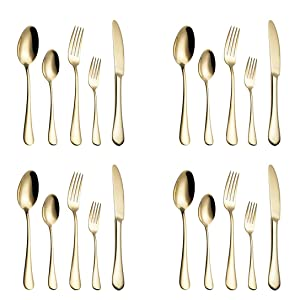 20-Piece Flatware Silverware Set Service for 4 Stainless Steel Cutlery Include Knife Fork Spoon Dishwasher Safe (Gold)