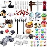 80Pcs Mini Miniature Ornaments Kit Set Toys Micro Landscape Accessories for Kids Child Adults DIY Fairy Garden Plant Pot Dollhouse Home Office Decoration