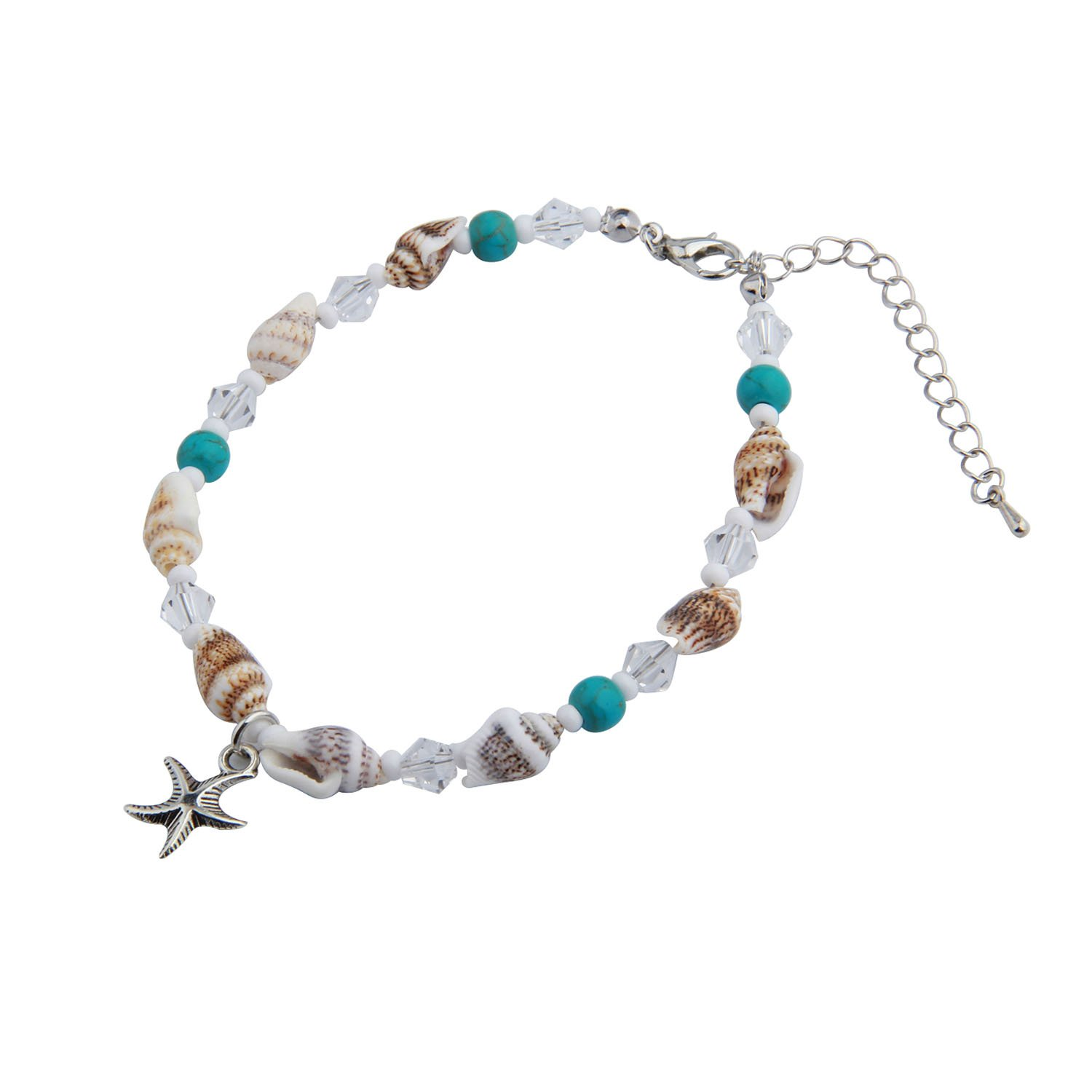 RQIER Starfish Themed Anklet Bracelet Adjustable Starfish Shell Bead Chain Ankle Bracelet Hawaiian Style Beach Jewelry (small shell)