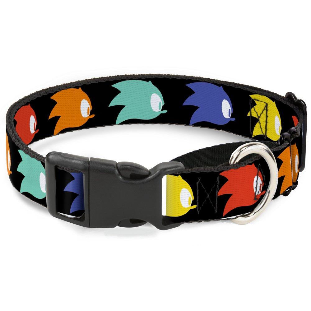 Buckle-Down Sonic Mania Sonic Profile Icon Black Multicolor  Martingale Dog Collar, 1  x 15-26  Large