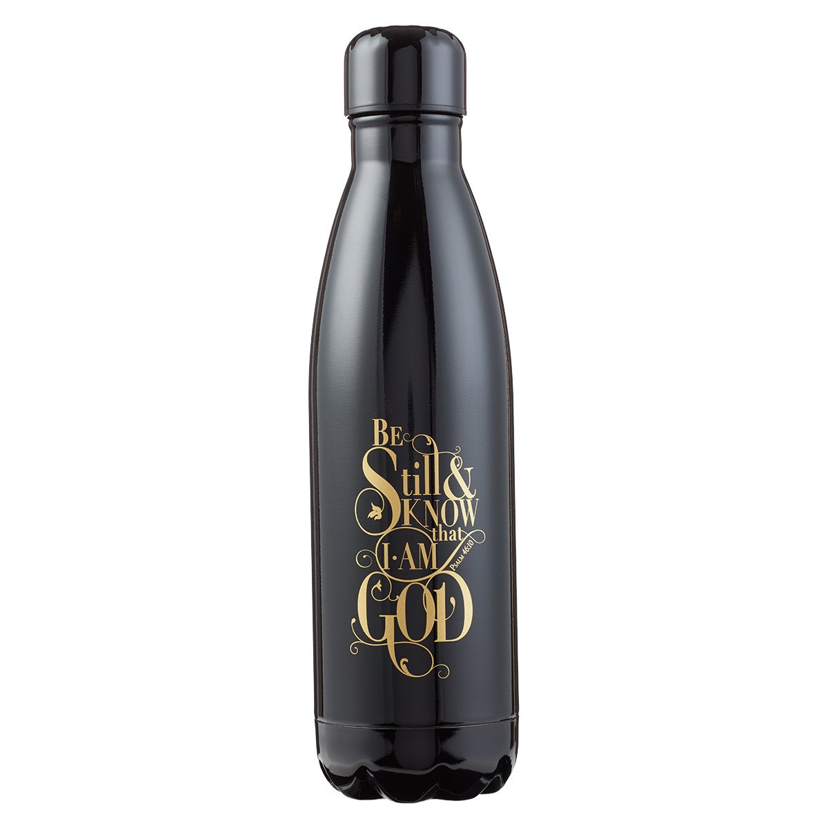 Stainless Steel Water Bottle, Be Still & Know, 17 Ounce, Black