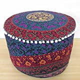 Ethnic style ottoman Pouf Cover Seating Furniture Footstool Mandala Ottoman Comfortable Round Floor Pillow Cotton Pouff Cover
