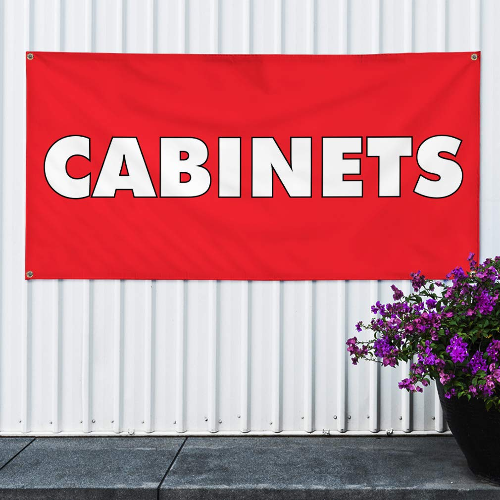 Multiple Sizes Available Vinyl Banner Sign Cabinets #1 Retail Cabinet Outdoor Marketing Advertising Red 8 Grommets 44inx110in One Banner