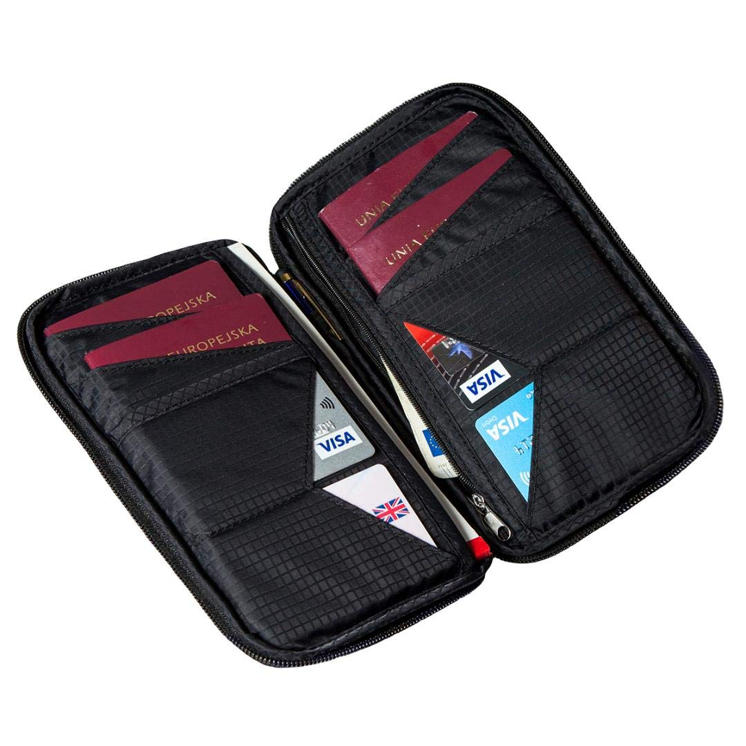 RFID Blocking Travel Wallet: Family Passport Holder/Document Organiser Case with Wristlet & Touch Pen (Midnight Black)