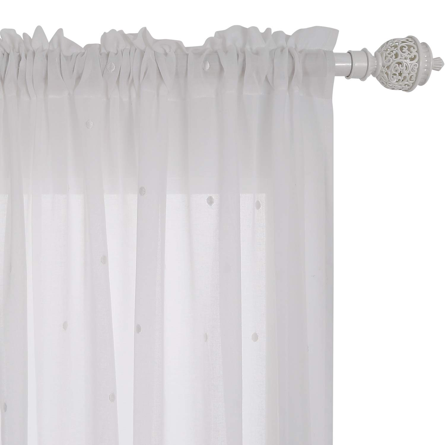 Deconovo Faux India Cotton Curtains White Curtains Embroidered Dot Rod Pocket Sheers Window Curtains 52W x 96L Inch White 1 Pair