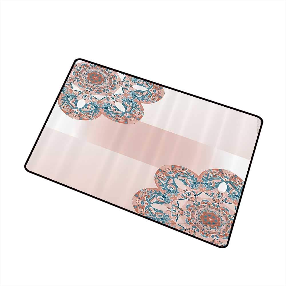 Interior Door mat Oriental Mandala 69 Inch by 70 Inch Light Salmon Blue Ivory W35 xL47 Machine wash/Non-Slip by Mdxizc