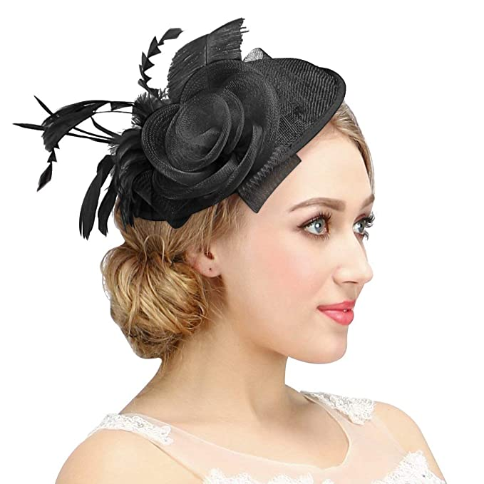 Valdler Womens Feather Mesh Net Sinamay Fascinator Hat with Hair Clip Tea  Party Derby Black a5fd57b9ff7