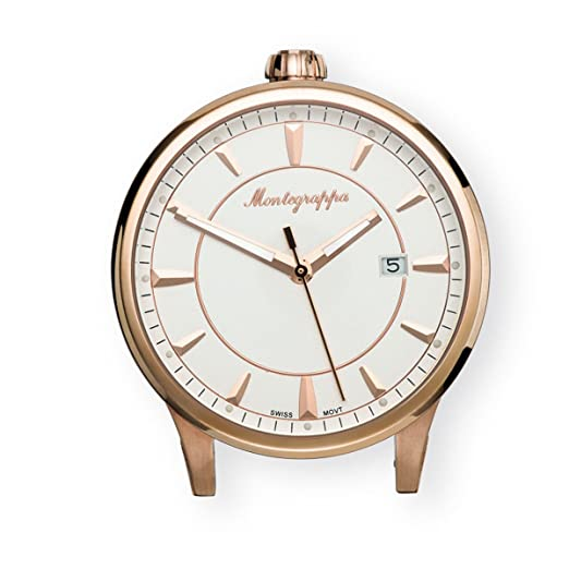 791d6d1261c Fortuna Table Clock in Steel and Rose Gold MONTEGRAPPA IDFOTCRW ...