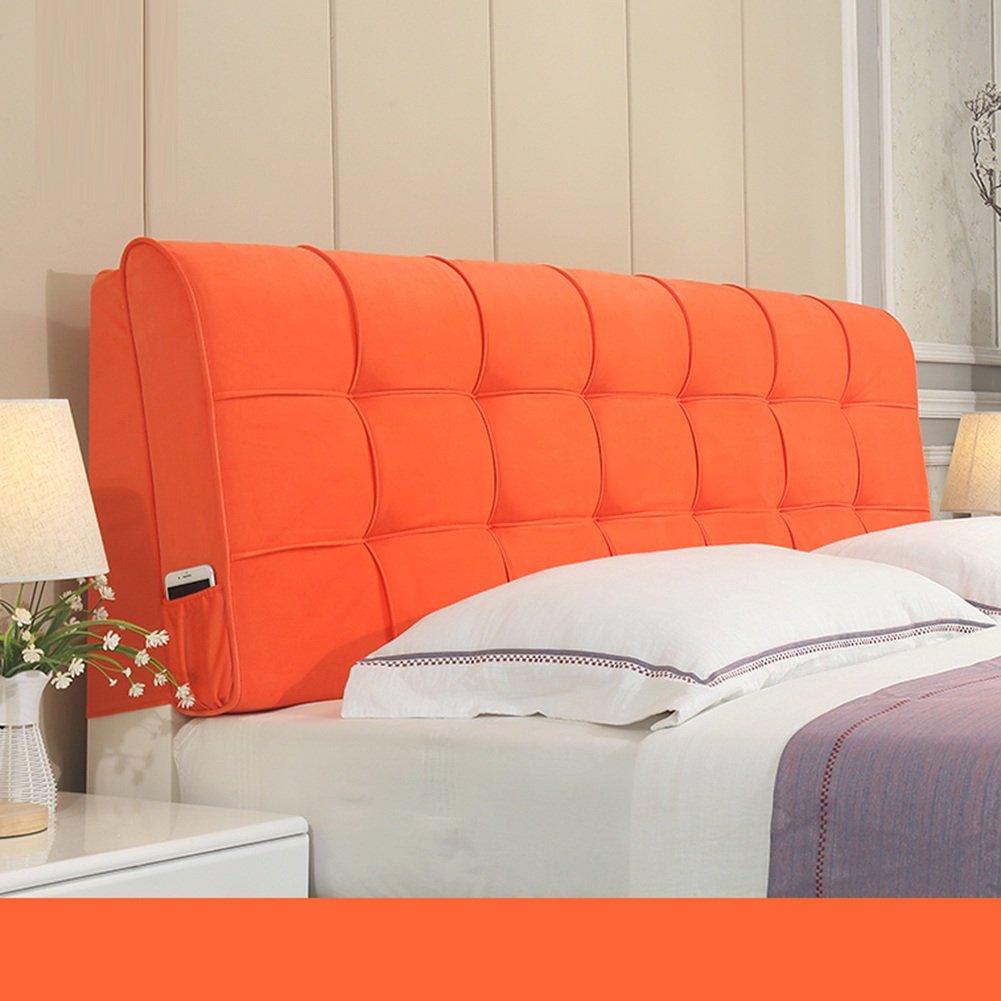 LIXIONG ヘッドボードクッション ベッドサイドソフトパッケージ 枕 シングルかダブルか 大型背もたれ ウエストパッド 、ベッドサイドカバー 解体洗濯、 6色、8サイズ (色 : オレンジ, サイズ さいず : 150*58cm) B07CBJQL36 150*58cm|オレンジ オレンジ 150*58cm