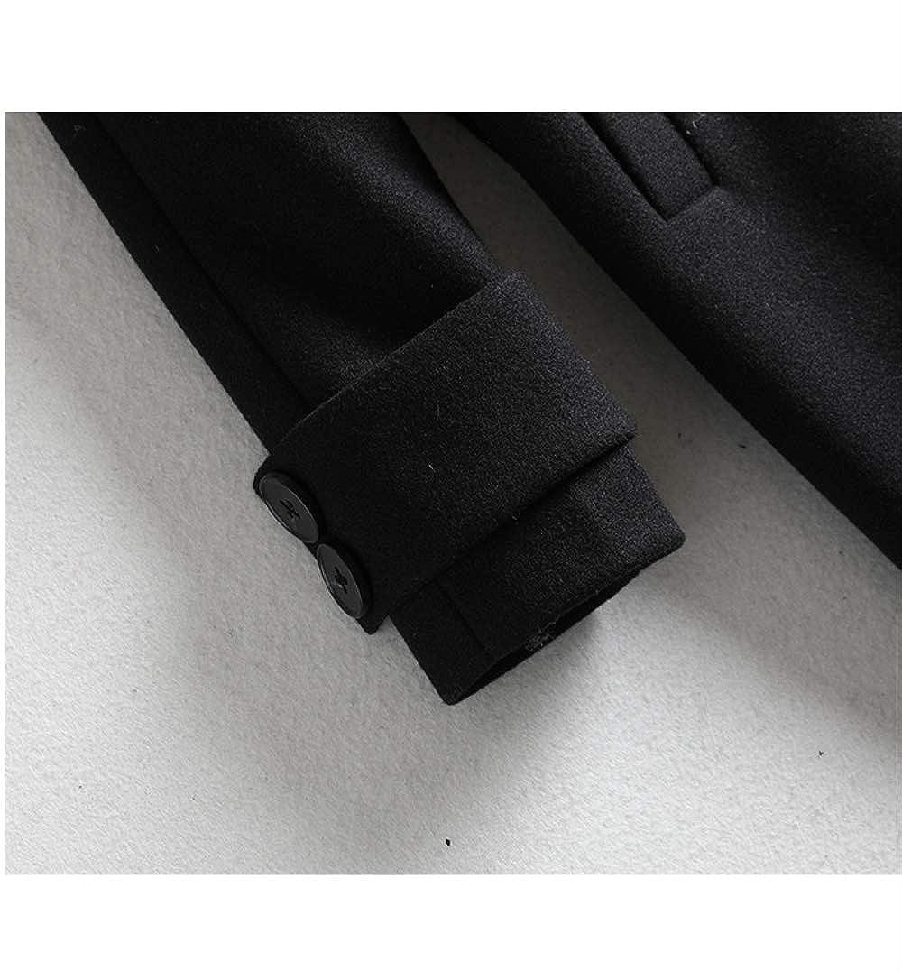ZSCRL Vêtements pour Femmes de Grande Taille, vêtements Simples en Hiver et en Automne, Manteau Ample et Ample, Manteau en Laine pour Dames européennes Noir
