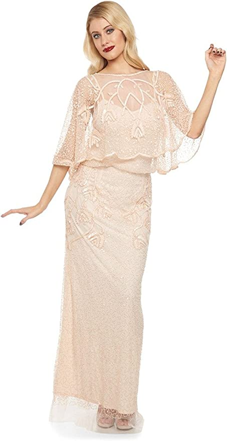 1920s Dresses UK | Flapper, Gatsby, Downton Abbey Dress gatsbylady london Chicago Vintage Inspired Maxi Dress in Champagne Blush £129.00 AT vintagedancer.com