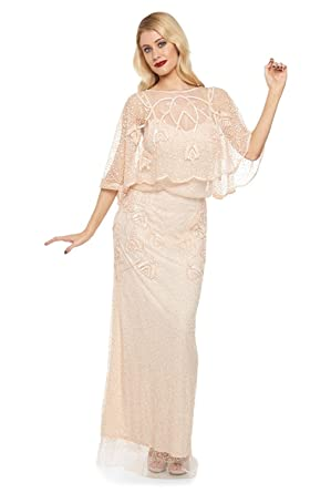 gatsbylady london Chicago Vintage Inspired Maxi Dress in Champagne Blush (US10 EU42)
