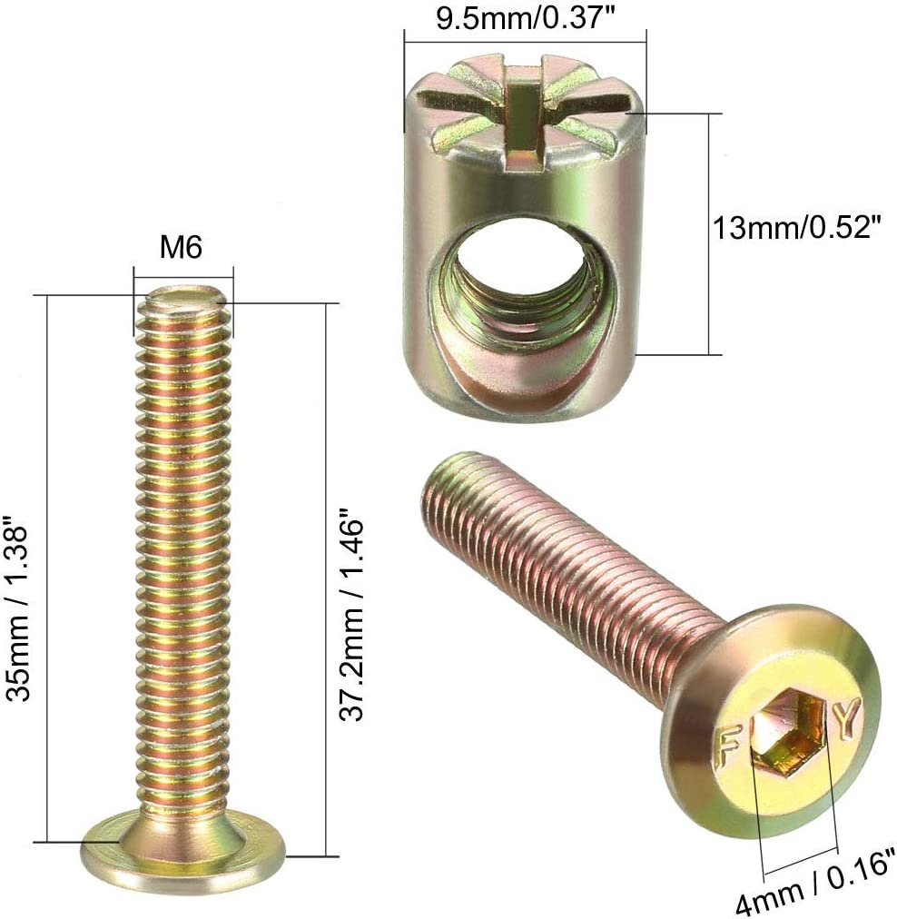 uxcell M6x35mm Furniture Bolt Nut Set Hex Socket Screw with Barrel Nuts Phillips-Slotted Zinc Plated 12 Sets