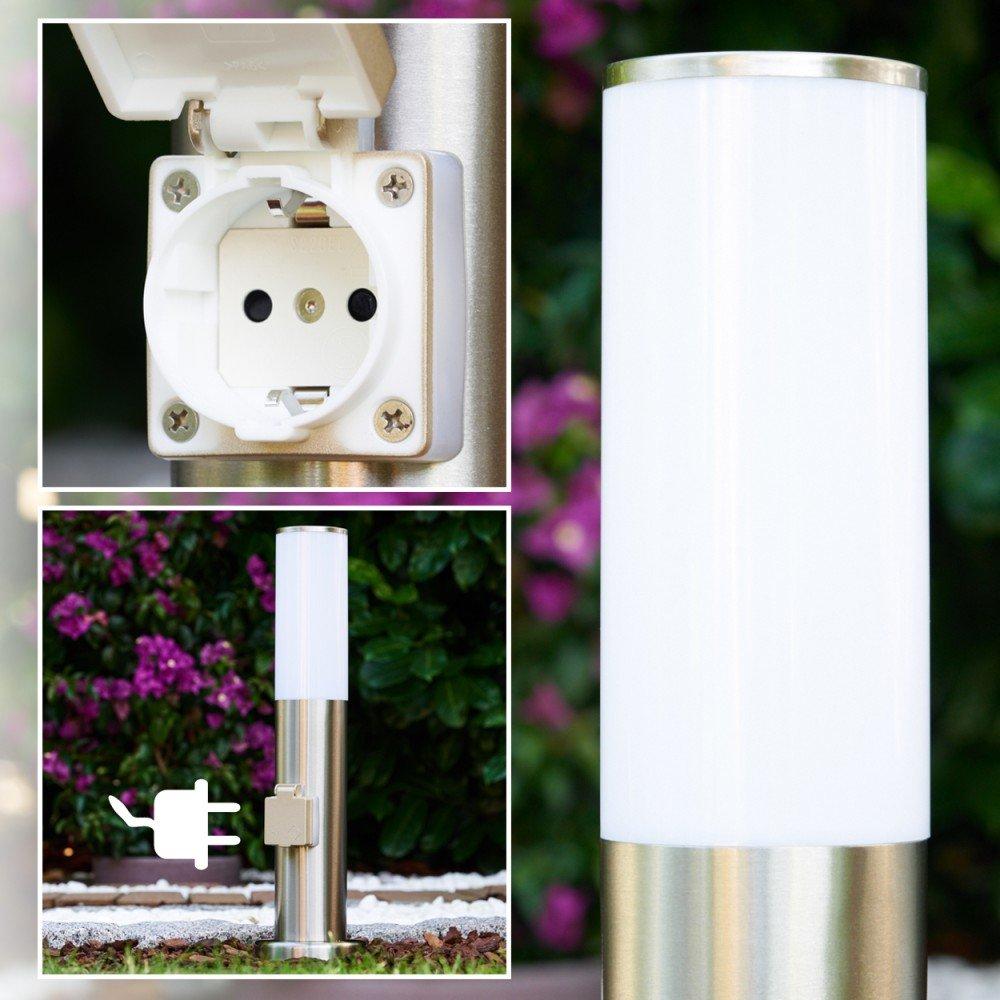 Sockelleuchte Caserta mit Steckdose aus Edelstahl - Wegeleuchte in Silber und Weiß - Außenlampe für den Garten als Pollerleuchte mit E27-Fassung und austauschbaren Leuchtmitteln hofstein