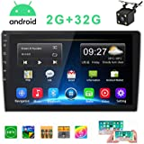 Double Din Car Stereo Android Car Radio with 9'' HD 1080P Touch Screen 2G 32G GPS Navigation Head Unit Car MP5 Player Bluetooth WiFi FM Radio Receiver 2 USB Support SWC Mirror Link with Rear View Came