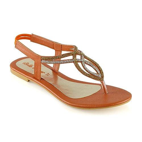 d66d0fec9233c ESSEX GLAM Womens Flat T-Bar Diamante Synthetic Slingback Toepost Sandals
