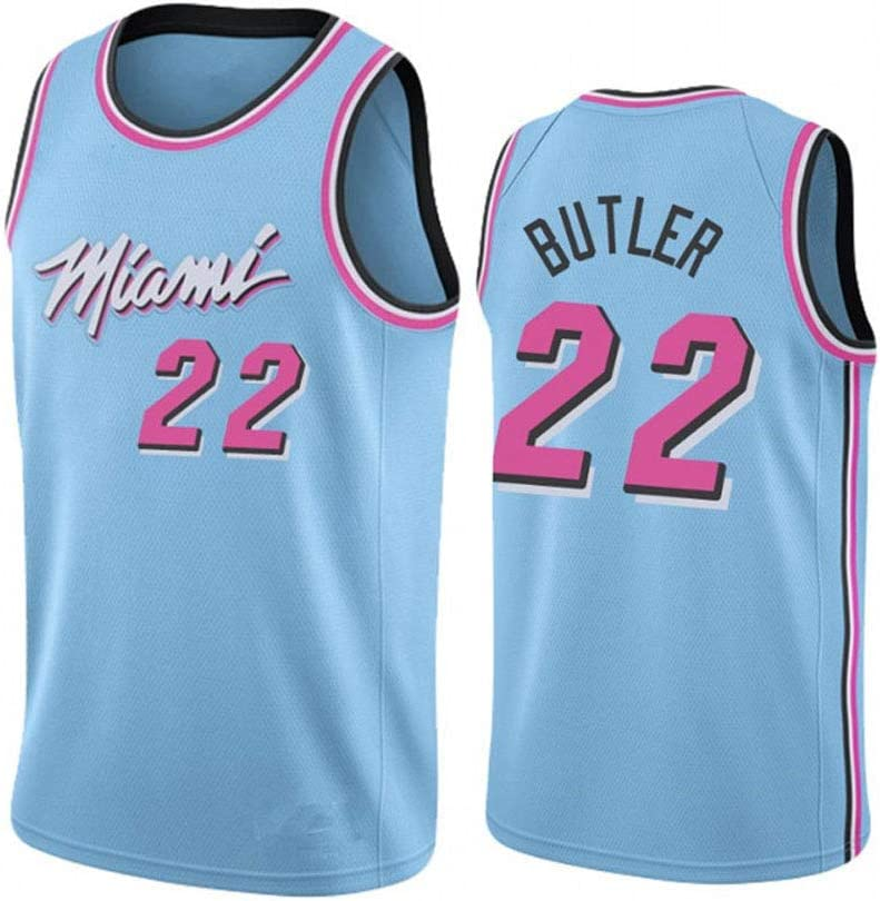 C/ómoda//Ligera,Light Blue,S Bordados Camisetas de Baloncesto para Hombres Transpirables Bordados Uniformes Letras y N/úmeros Camiseta sin Mangas de Malla NBA Miami Heat -#22 Jimmy Butler