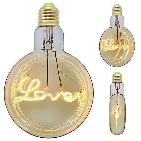 TIANFAN Bombillas LED Vintage Bombilla Edison 4 W Letras Amor Bombilla Redonda LED Filamento Decorativo Bombilla