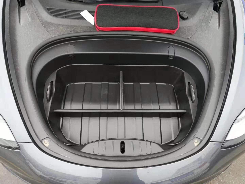 Xtechnor Tesla Modell 3 Frunk Mat Organizer Kofferraum Matten Kofferraum Matten Allwetter Teppich Strapazierfähig Mit 3 Separaten Räumen Modell 3 Zubehör Frunk Matte 1 Stück Auto