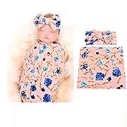 Galabloomer Newborn Receiving Blanket Headband Set Flower Print Baby Swaddle Receiving Blankets Pink