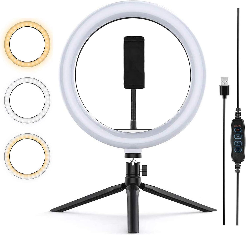 Zoeley Anillo de luz LED, Selfie Ring Light y Trípode 3 Colores Modo 12 Brillos Regulables, Aro de luz LED Rotación de 360° para Selfie, Maquillaje y Youtube Live