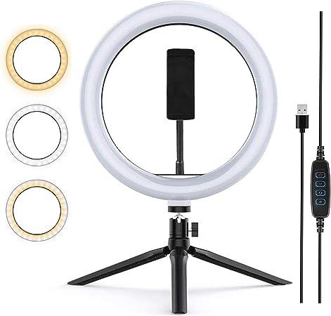 Todo para el streamer: Zoeley Anillo de luz LED, Selfie Ring Light y Trípode 3 Colores Modo 12 Brillos Regulables, Aro de luz LED Rotación de 360° para Selfie, Maquillaje y Youtube Live