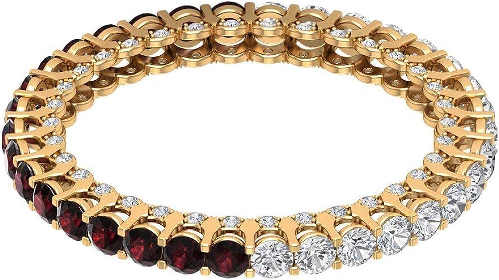 Anillo de boda de oro granate de 0,85 ct certificado de 2 mm, anillo de piedra natal alterna de enero, anillo de eternidad de diamante de 3/4 ct, 14K Oro