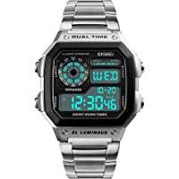 eYotto Mens Digital Watch Stainless Steel Square Dial Quartz Wristwatches Waterproof Dual Time Alarm Stopwatch Business Watches Silver