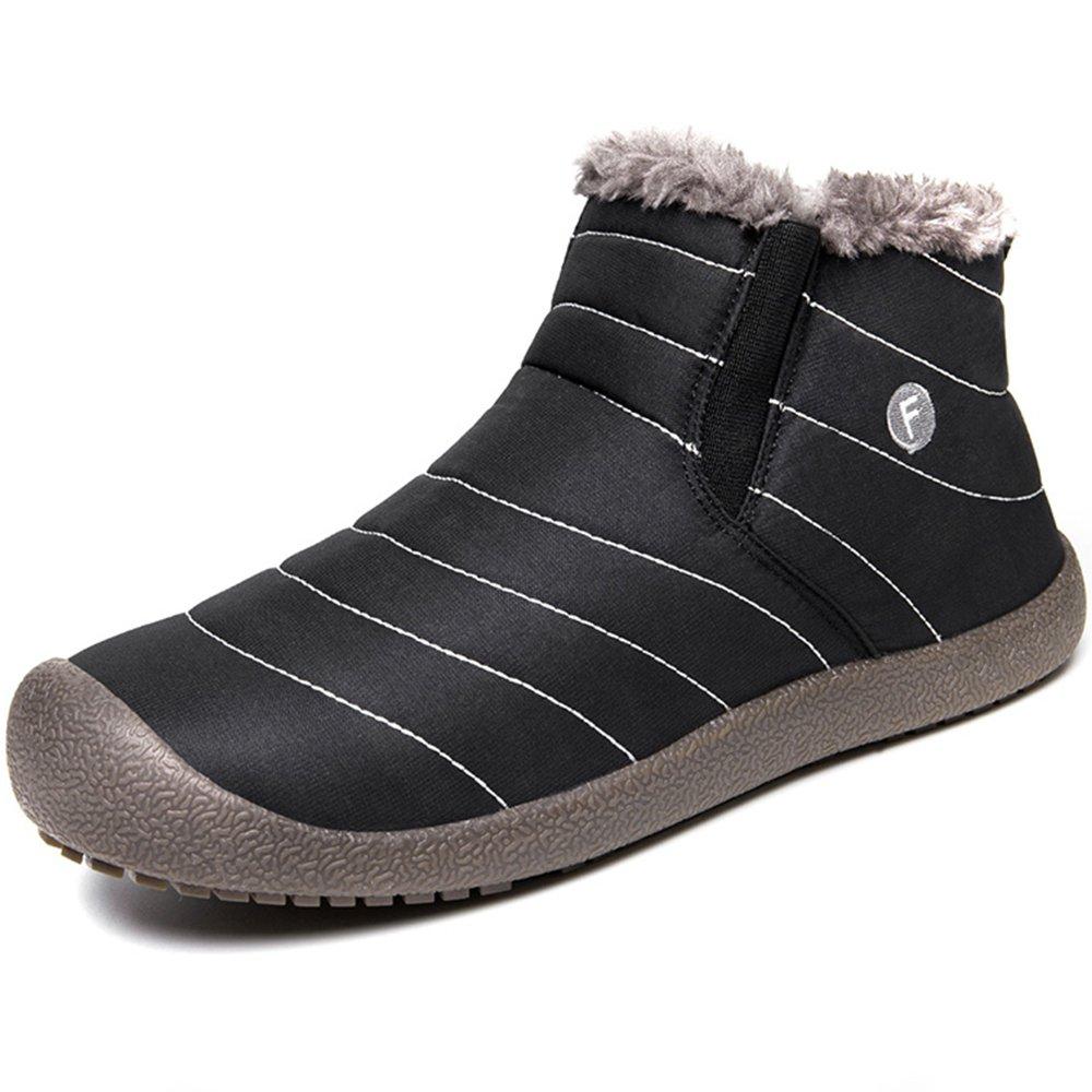 JACKSHIBO Mens Womens Slip On Winter Boots Fur Lined Outdoor Anti-Slip Snow Boots B073RD491N Women 7(M)B US/Men 6.5(M)B US|Black-high Top