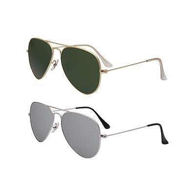 b4aa118b7f3e Amazon.com  LianSan Brand Designer Classic Aviator Metal Frame Polarized  Sunglasses Men Women Sun Glasses Lightweight 3025 (2 pair(green+silver)) …