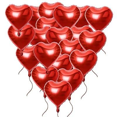 20 x Globos Metalicos de Corazón Rojo Helio para Boda Fiesta Amor 45cm (20pcs*18in) con Cintas: Juguetes y juegos