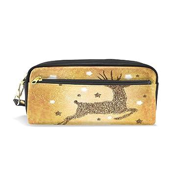 296d4af24f1 Leather Zipper Pencil Pen Cases Holder Happy Elk Student Pouch Ladies  Comestic Bag